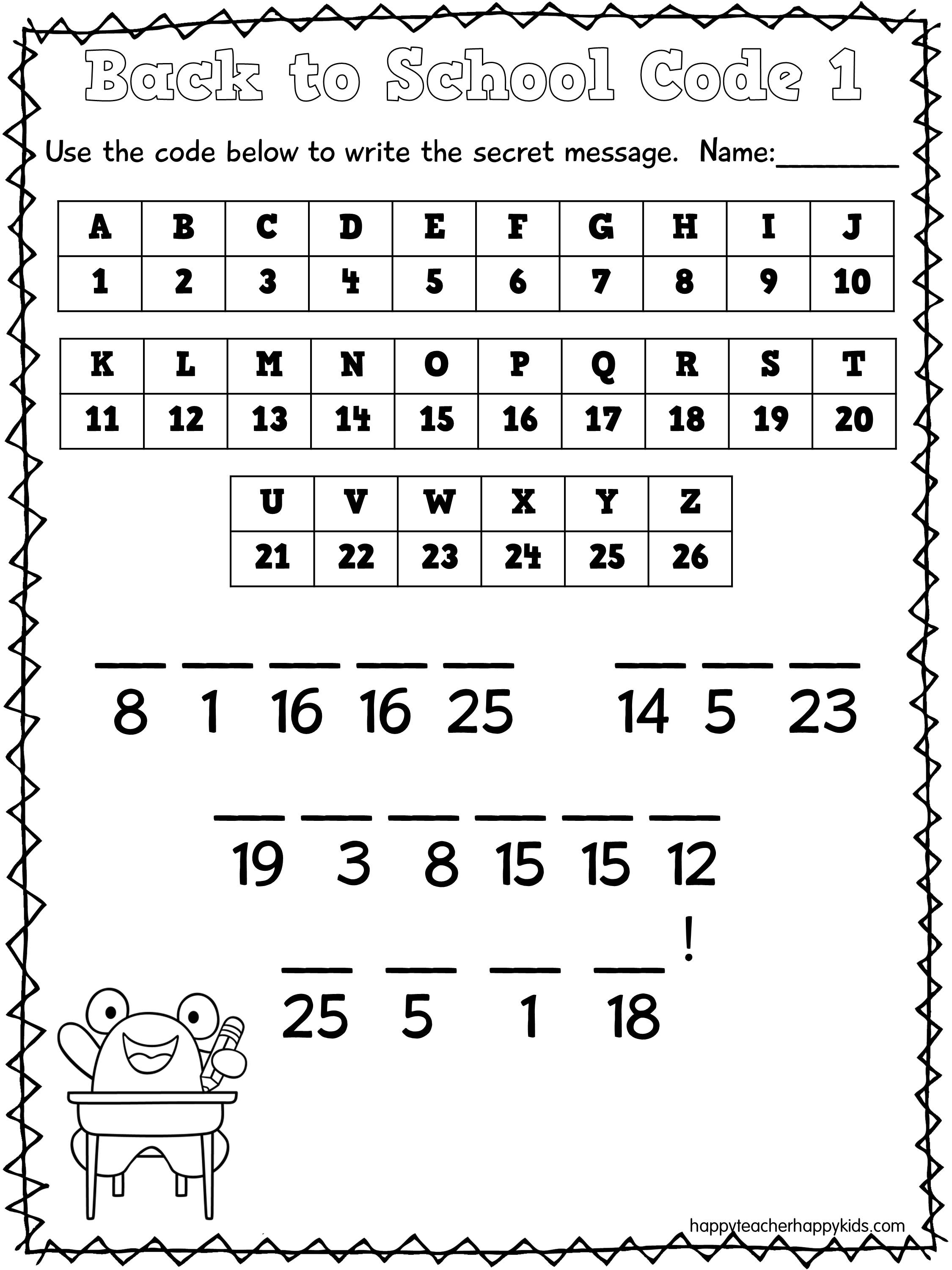 secret code math worksheets Success
