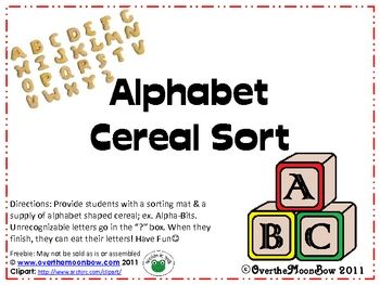 Alphabet Cereal Sort from Over the Moonbow