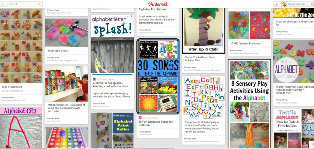 Alphabet Pinterest Board for Happy Teacher Alphabet Resources