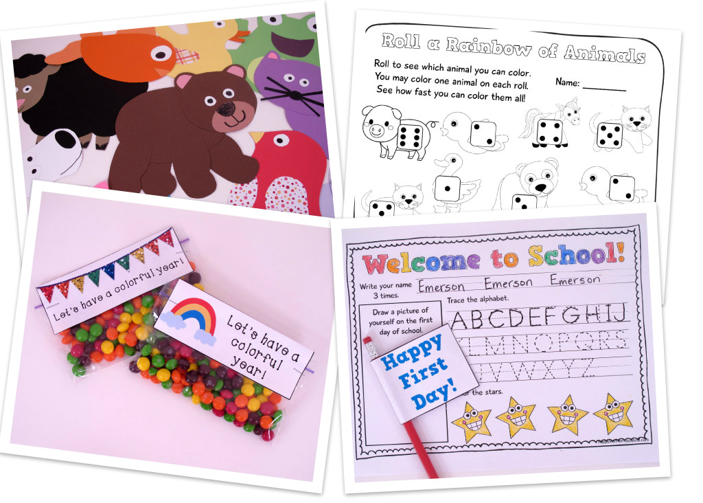 Back to School Color Animals Collage