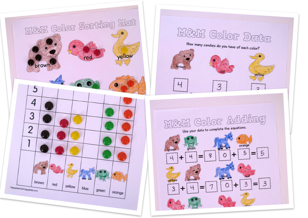 Free Brown Bear M&M Color Math Collage