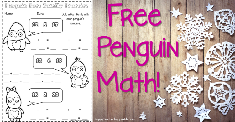Penguin Math Craft – Practicing Fact Families in First Grade