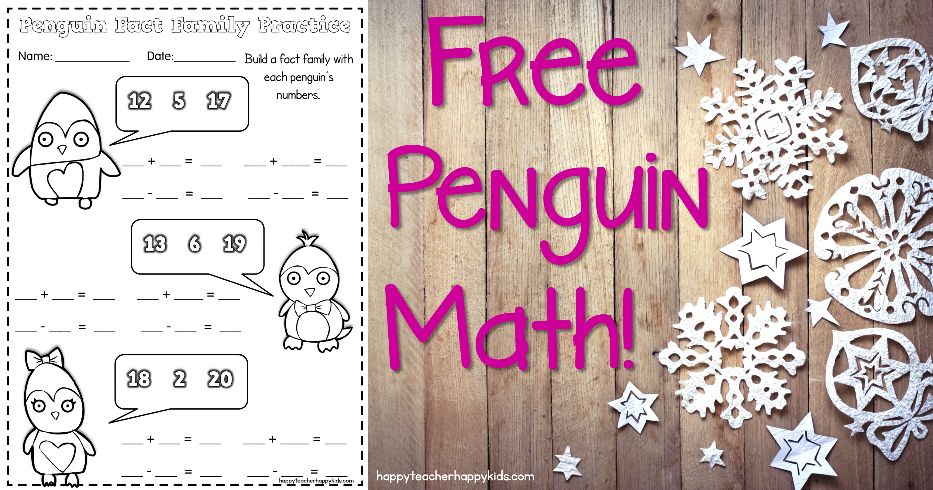 Penguin Math Craft Practicing Fact Families In First Grade Happy
