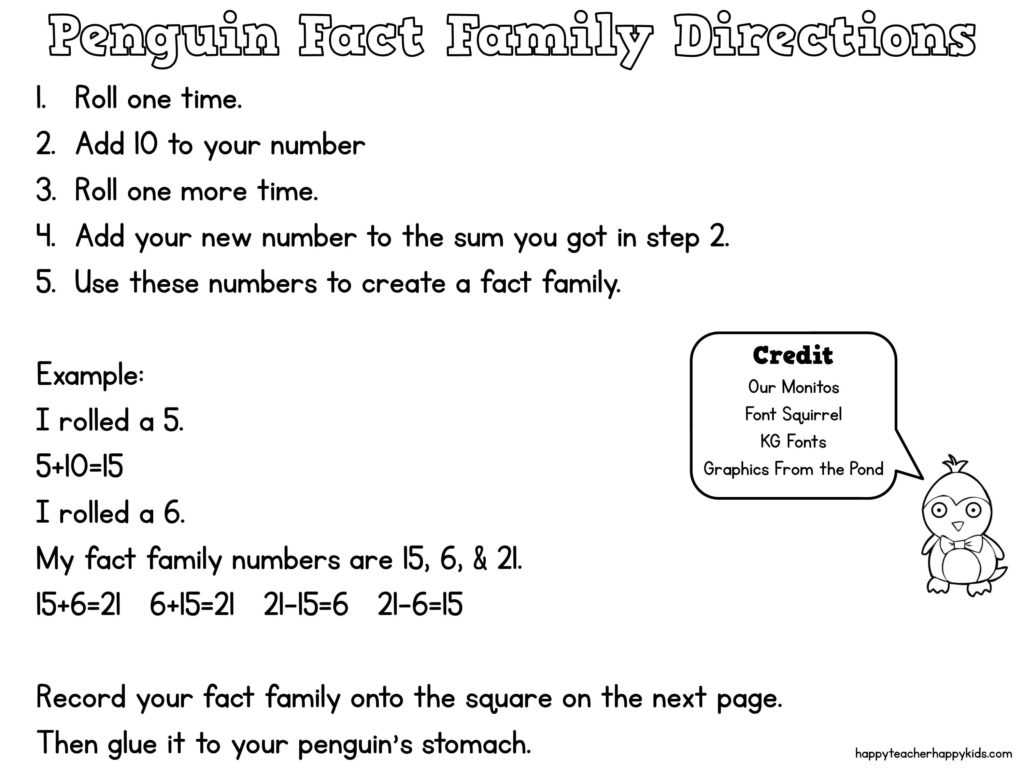 Penguin Fact Family Directions