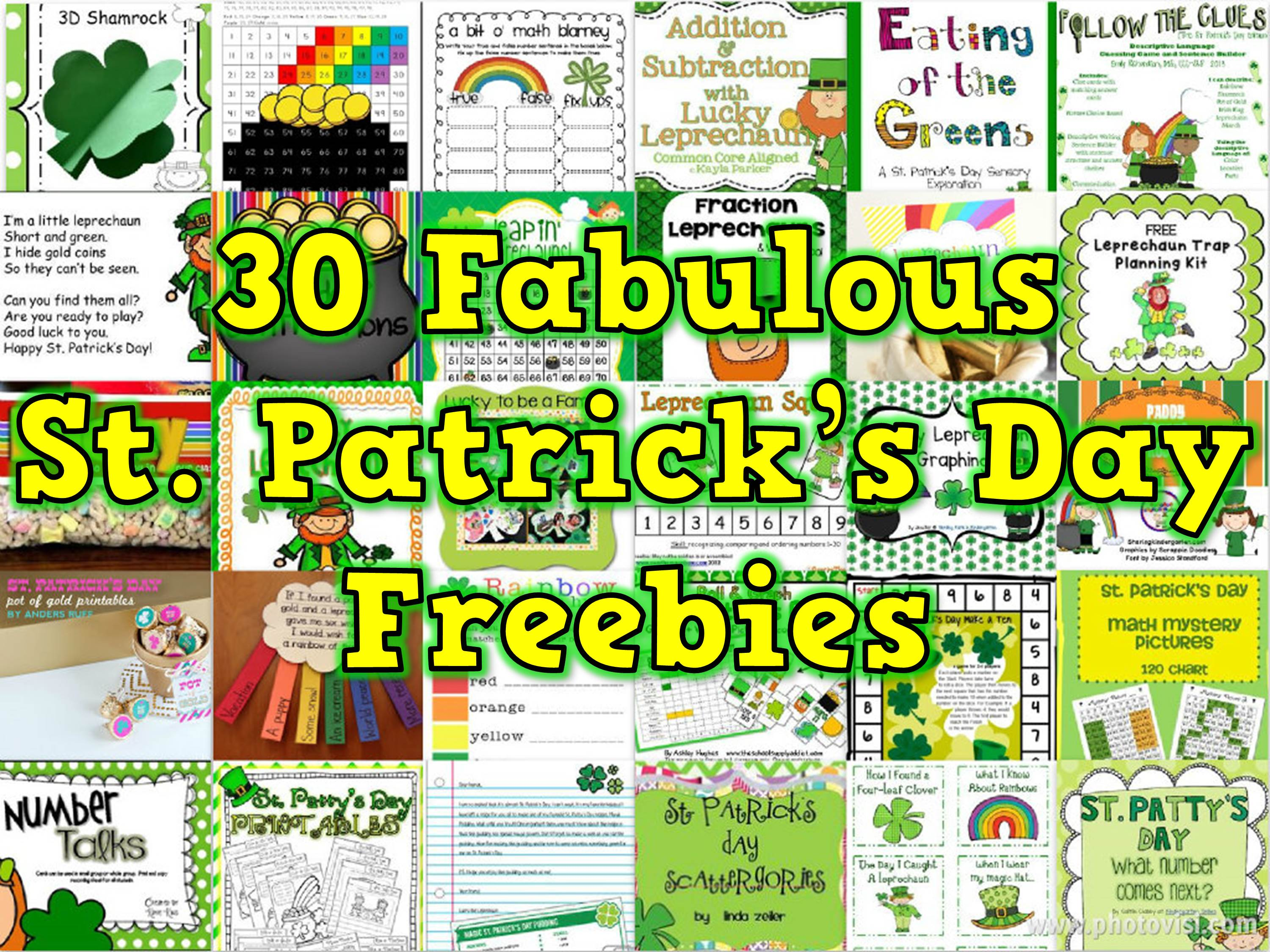 Correct 30 Fabulous St Patrick's Day Freebies collage final version