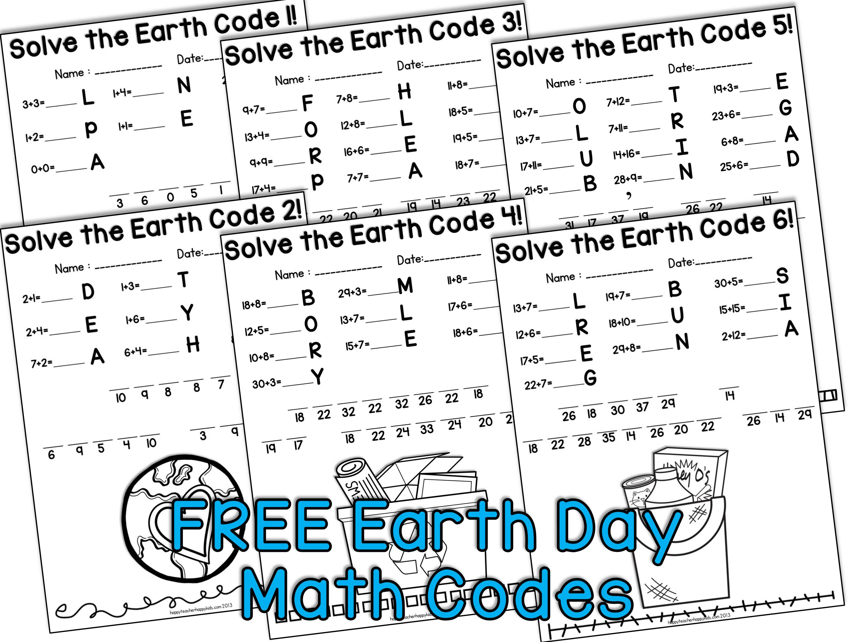 Earth Day Math Codes Collage