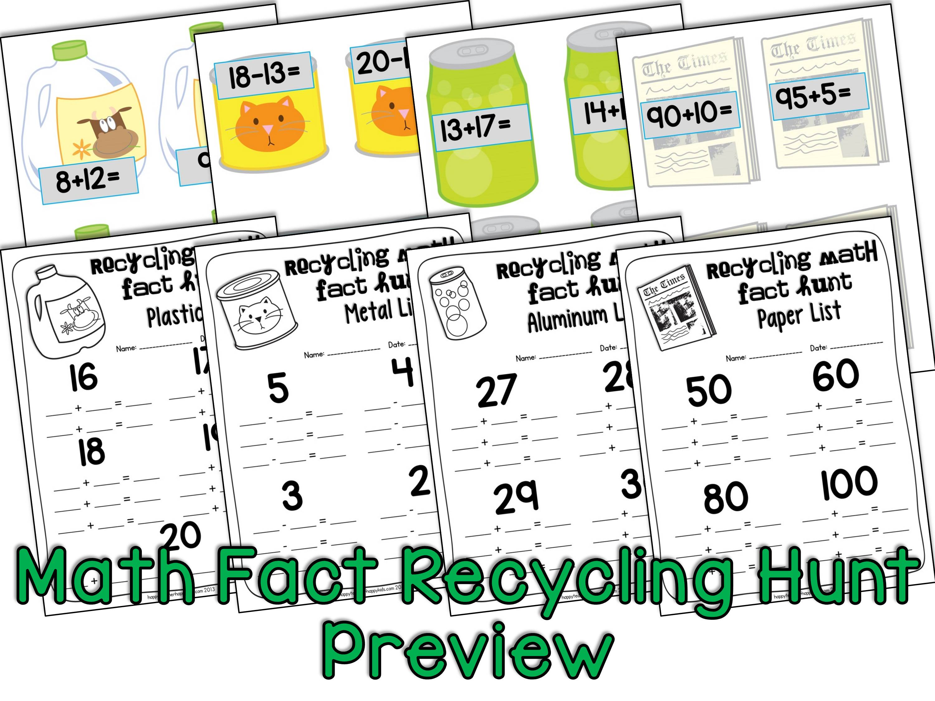 Update Math Fact Recycling Hunt Preview
