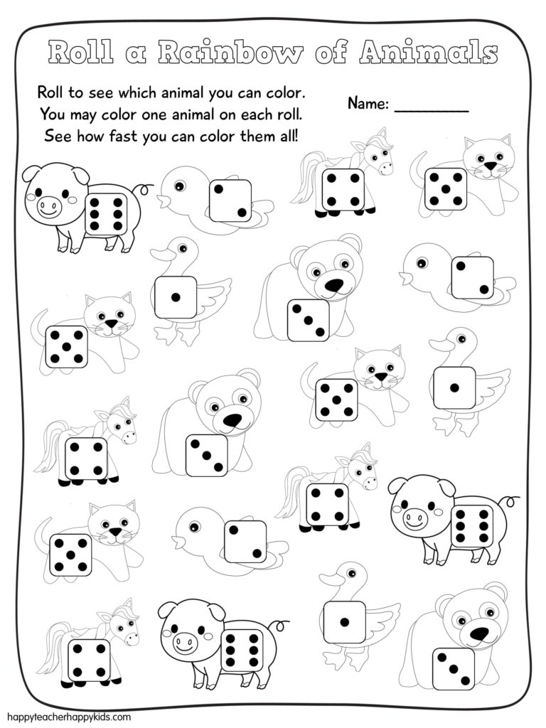 Roll a Rainbow of Animals Free Math Game