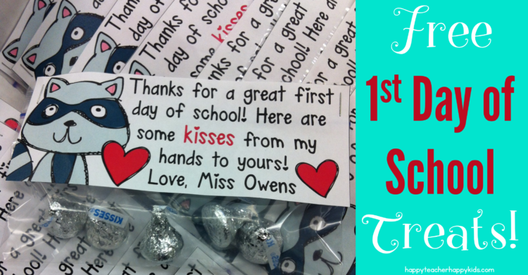 First Day of School Treats – The Kissing Hand Freebie!