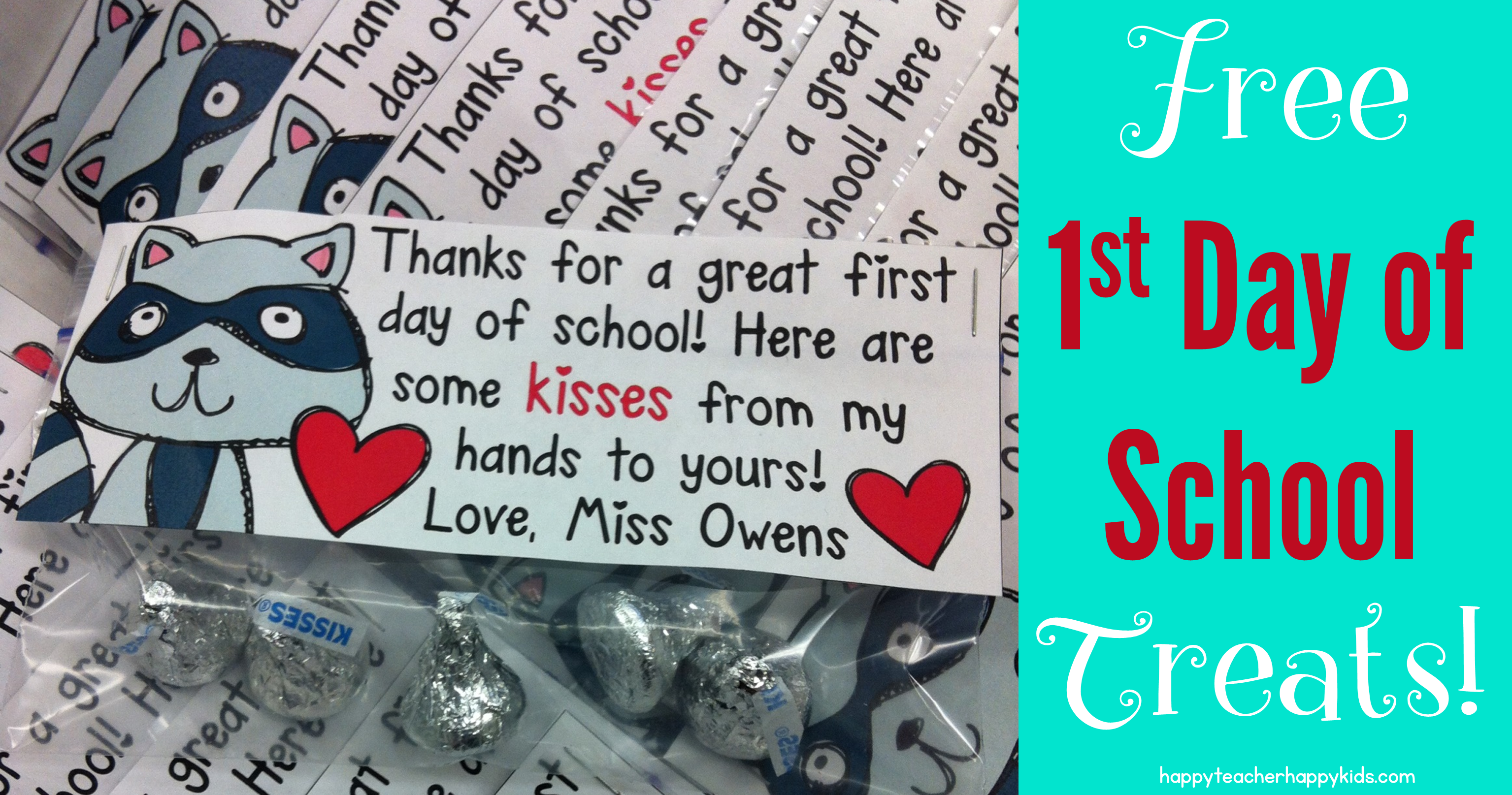 First Day of School Treats - The Kissing Hand Freebie! - Happy ...