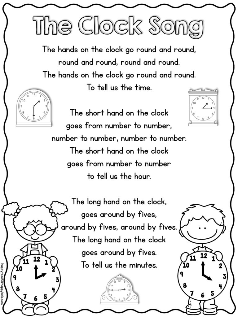 Worksheet First Grade Telling Time telling time song for kindergarten and first grade happy teacher clock image